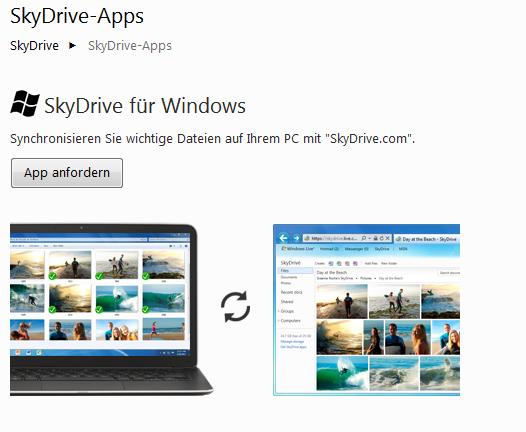 SkyDrive App anfordern