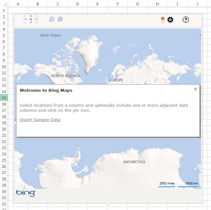 Bing Maps in Excel 2013