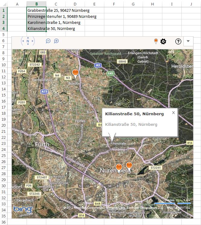 Mehrere Adressen in Bing Maps
