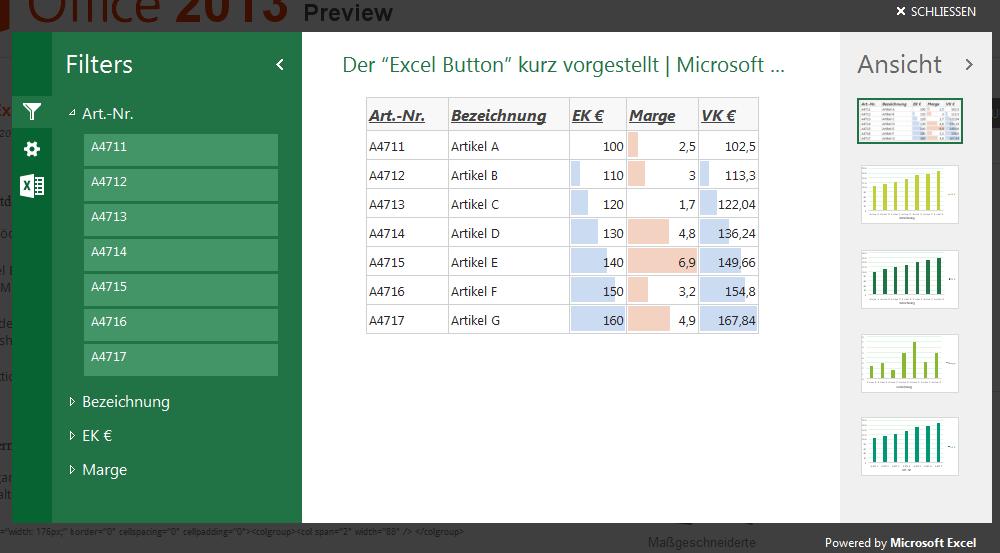 Anzeige der HTML-Daten in den Excel Web-Apps