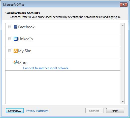 Outlook 2013 - Social Network