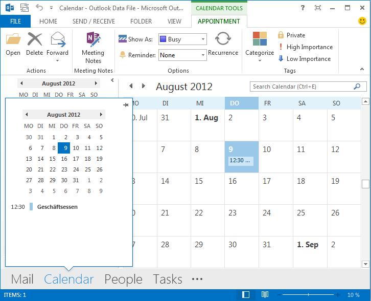 Outlook 2013 Funktion Peeks